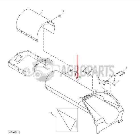 Loading auger spout assembly tube. OEM AH219094