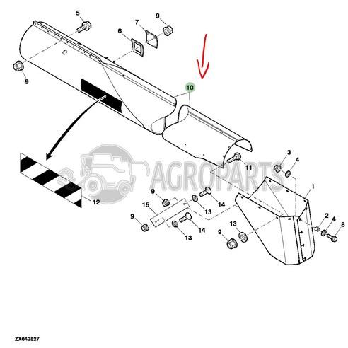 Horizontal unloading auger housing for John Deere combines, AXE27589 , JD-AXE27589R, John Deere combine parts