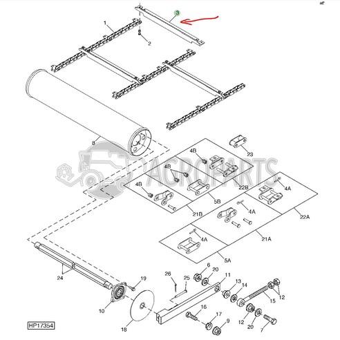 H211160 Feeder conveyor slat fits John Deere