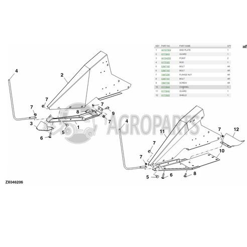 AH167954 H173843 H173844 H173842 Skid plate fits John Deere JD-625R00.00R