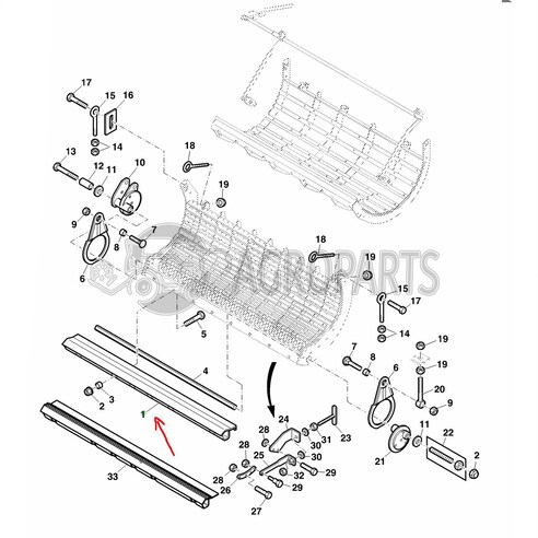 Combine Parts Separatuion grate assembly angle for John Deere combines, AZ63863