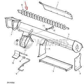 AZ44924 Upper tailings auger fits John Deere JD-AZ44924R
