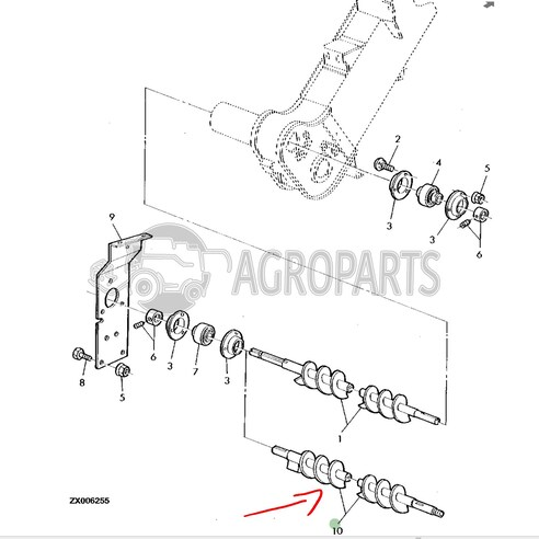 Lower tailings auger. OEM AZ49149