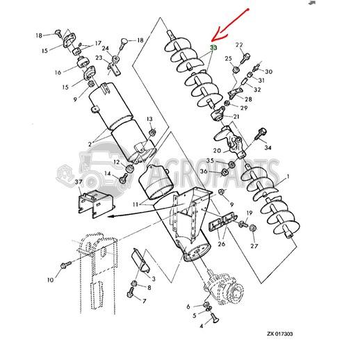 Filling tube auger. OEM AZ52896