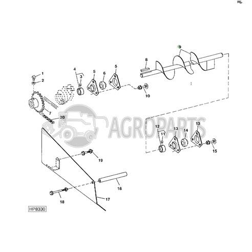 AH125895 Upper tailings auger fits John Deere JD-AH125895R