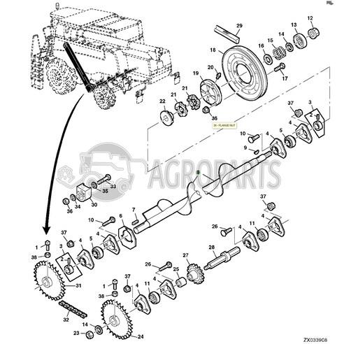 AH146313 Lower tailings auger fits John Deere JD-AH146313R
