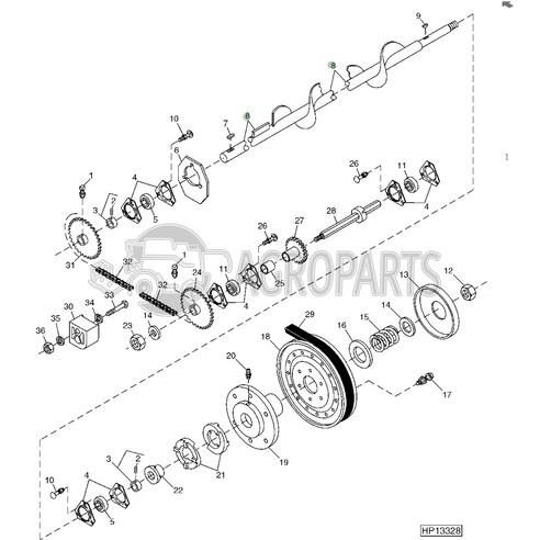 AH146322 Lower tailings auger fits John Deere JD-AH146322R