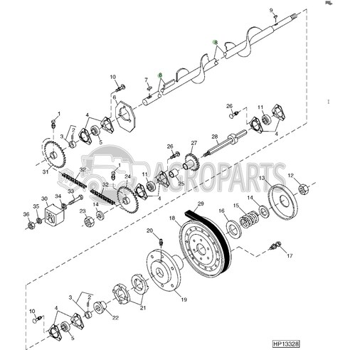 Lower tailings auger. OEM AH146322