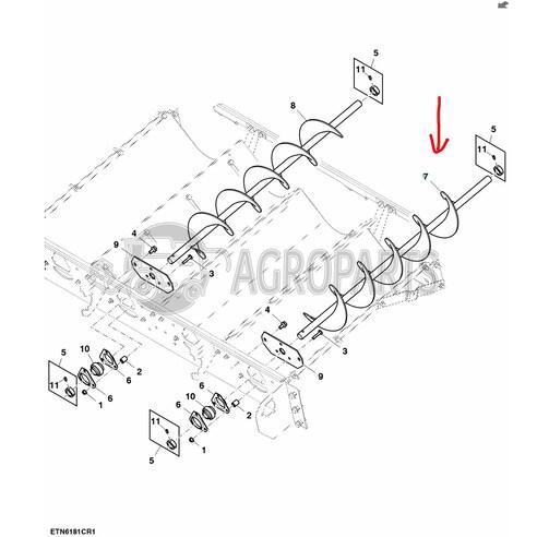 Conveyor Auger For John Deere Combines Ah146786