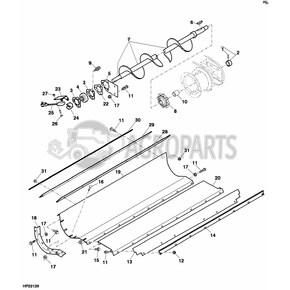 AH147472 Lower tailings auger fits John Deere JD-AH147472R