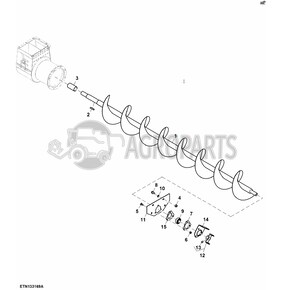 Clean grain lower auger. OEM AH162154