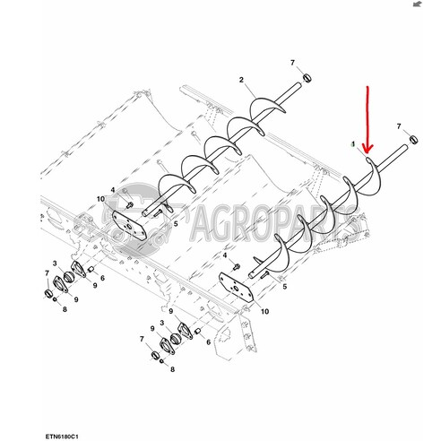 Conveyor auger LH. OEM AH168284