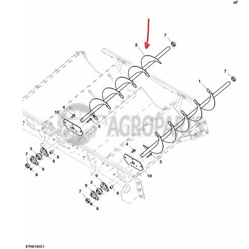AH168285 Conveyor auger RH fits John Deere JD-AH168285R
