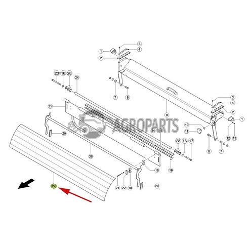 5528591 Feed plate / Upper guide plate / deflector (stone trap) fits Claas Tucano CL-552-859R