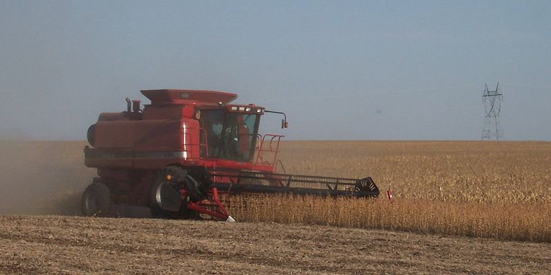 Case IH Combine set to harvest soybeans.