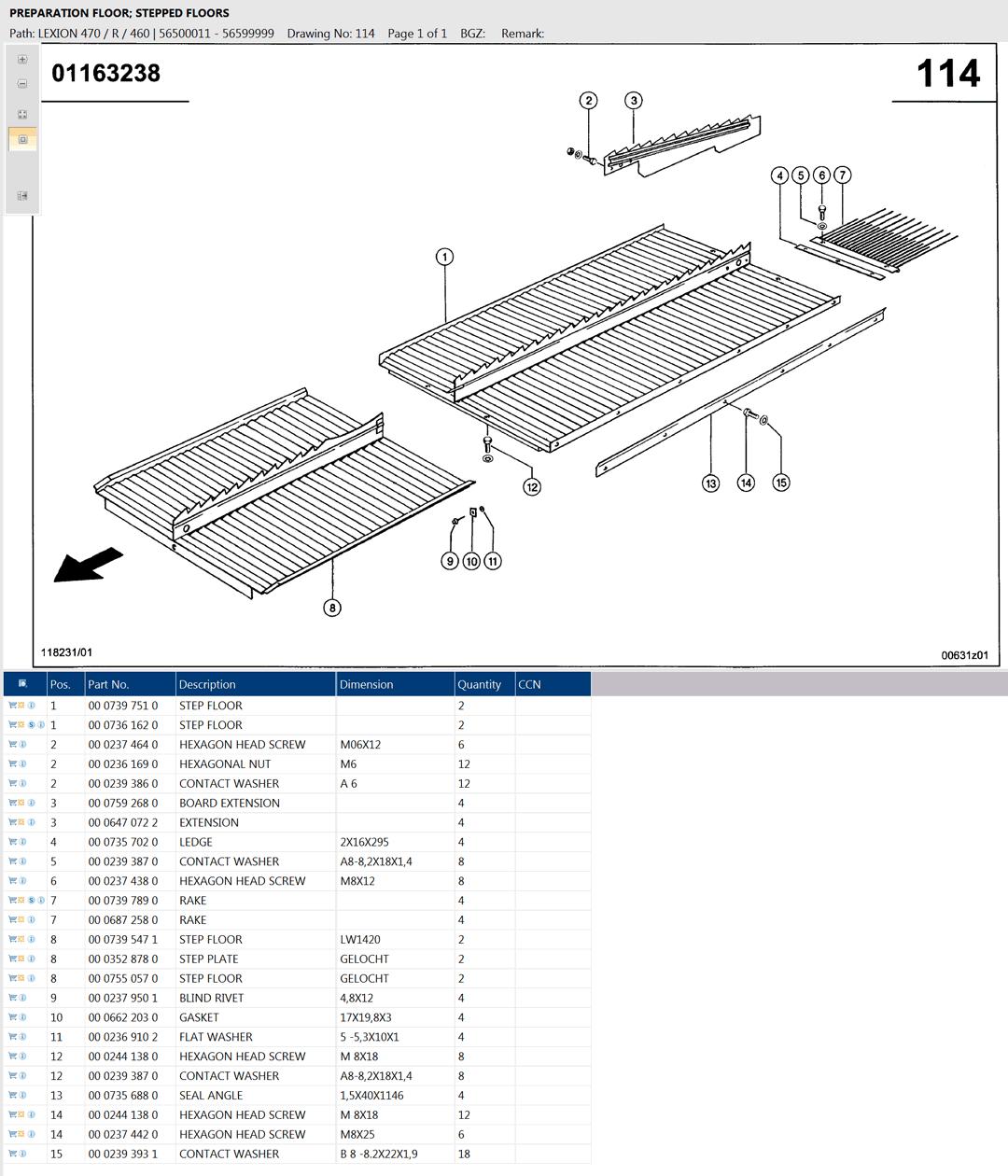 Lexion 470R parts and scheme - preparation floor, stepped floors
