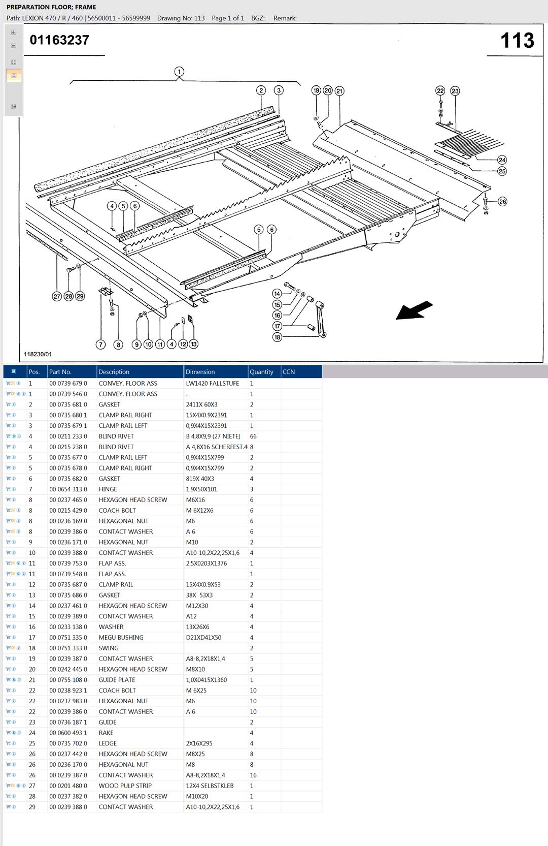 Lexion 470R parts and scheme - preparation floor
