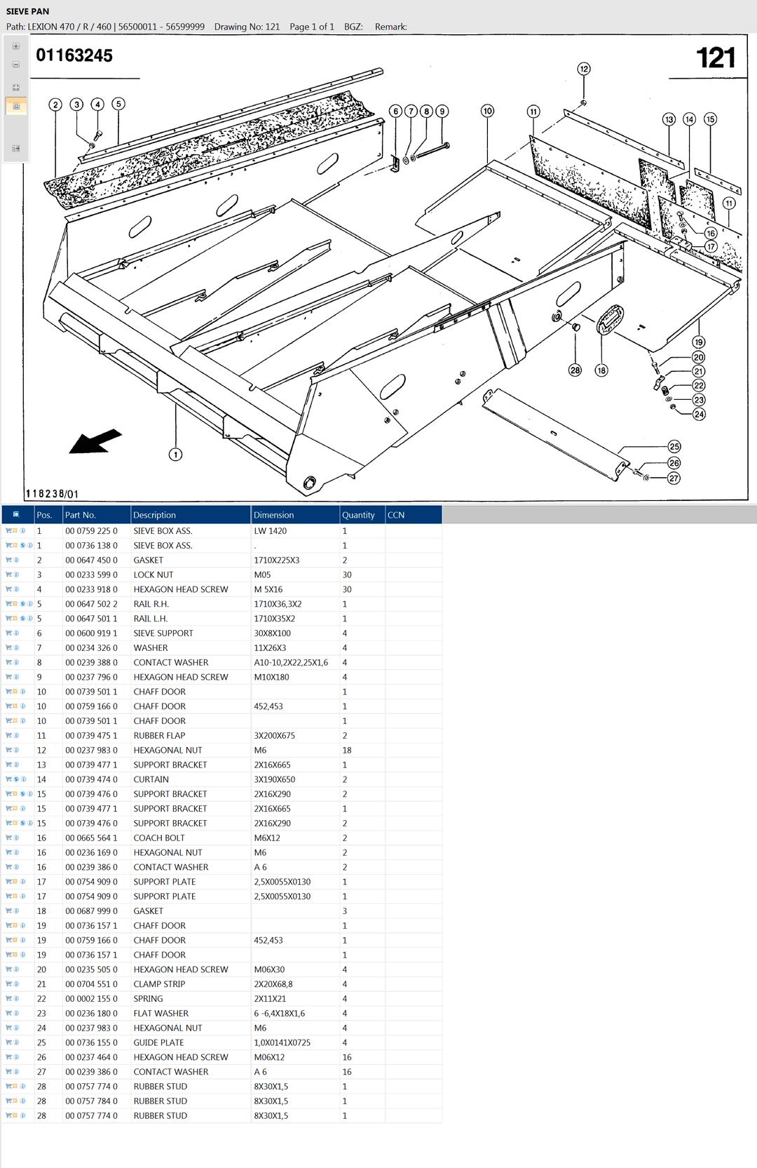 Lexion 470R parts and scheme - sieve pan