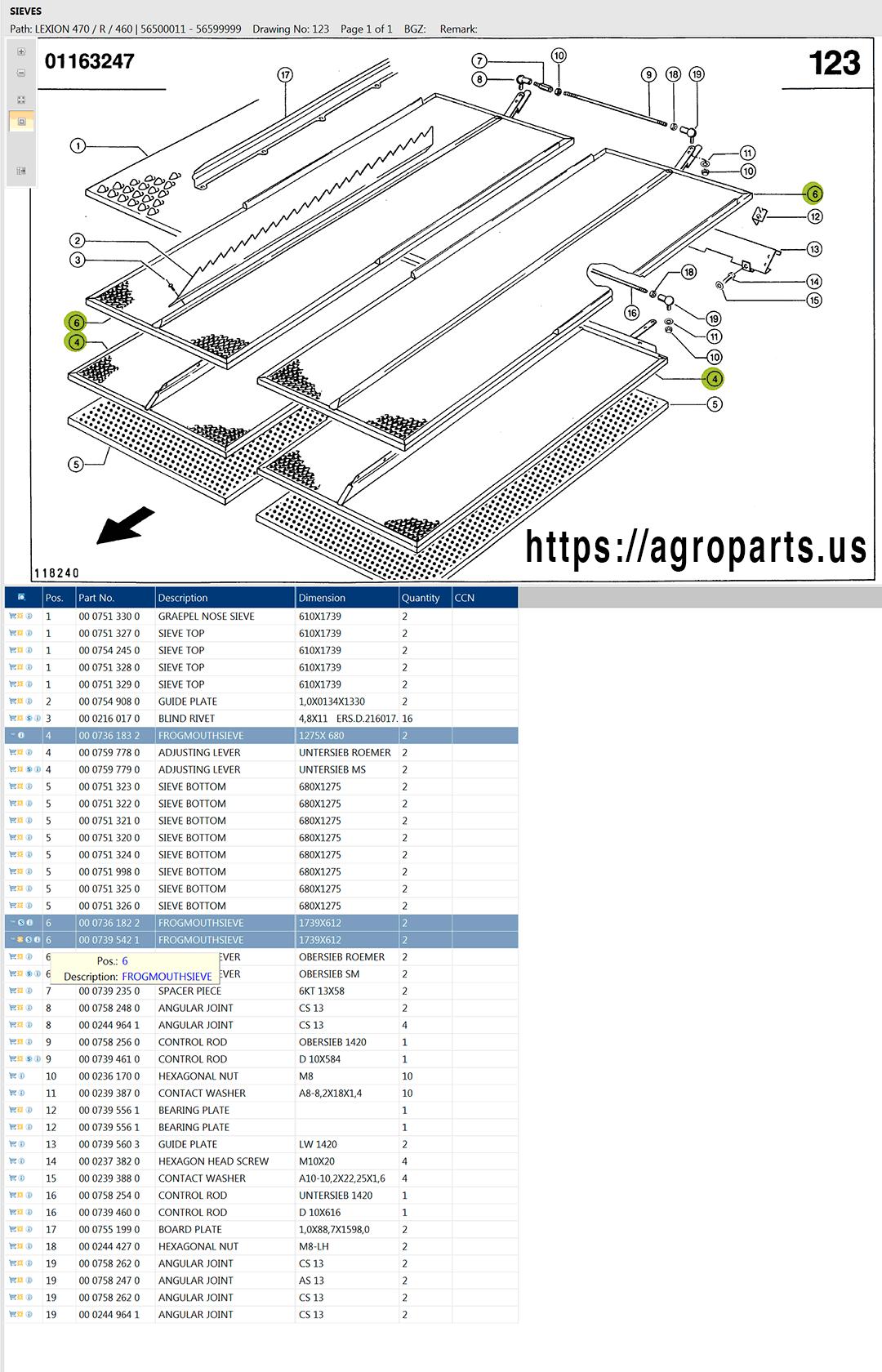 Lexion 470R parts and scheme - sieves