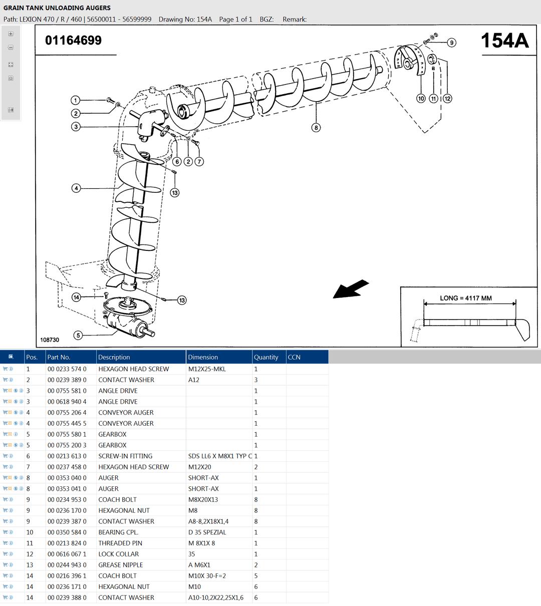 Lexion 470R parts and scheme - Grain tank unloading auger