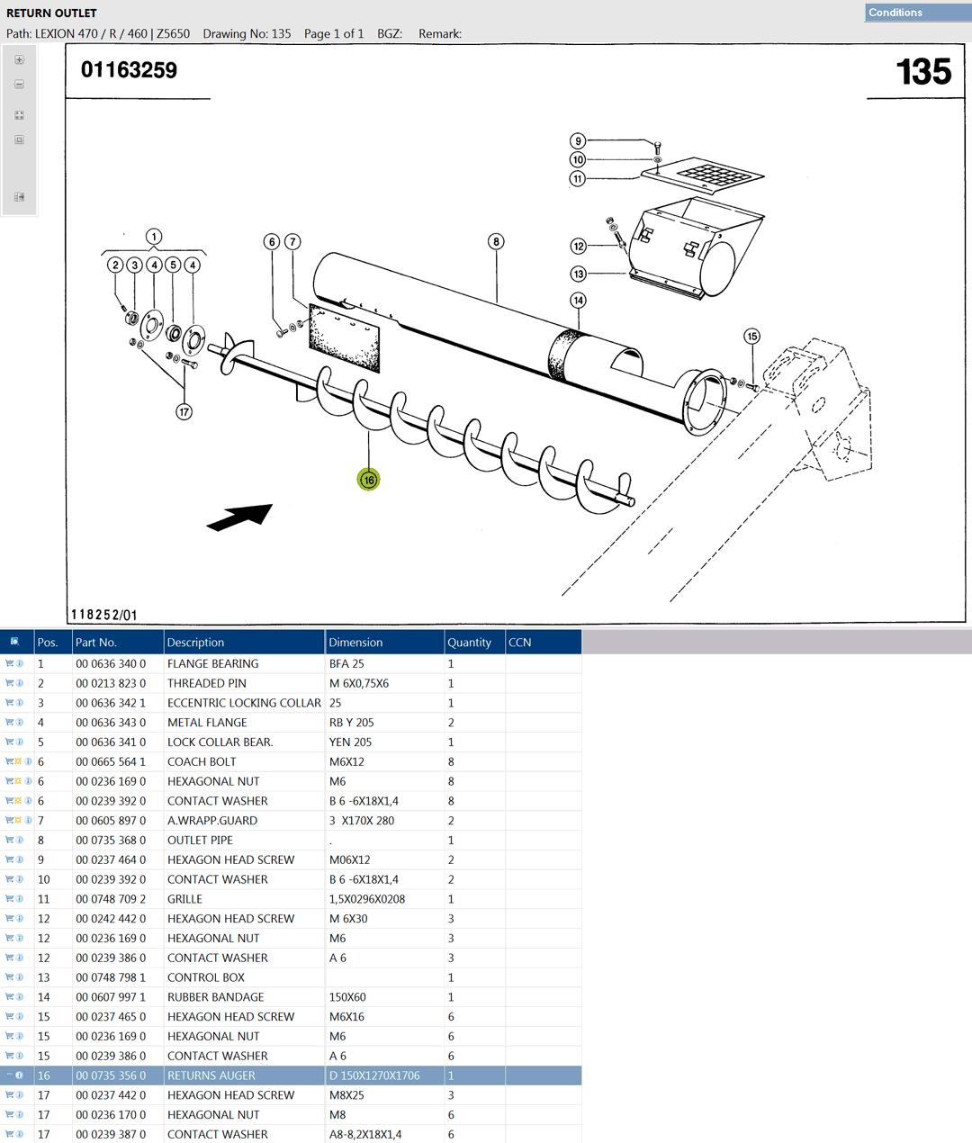 Lexion 470R parts and scheme - Return elevator auger