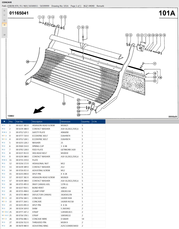 Lexion 470R parts and scheme - concave