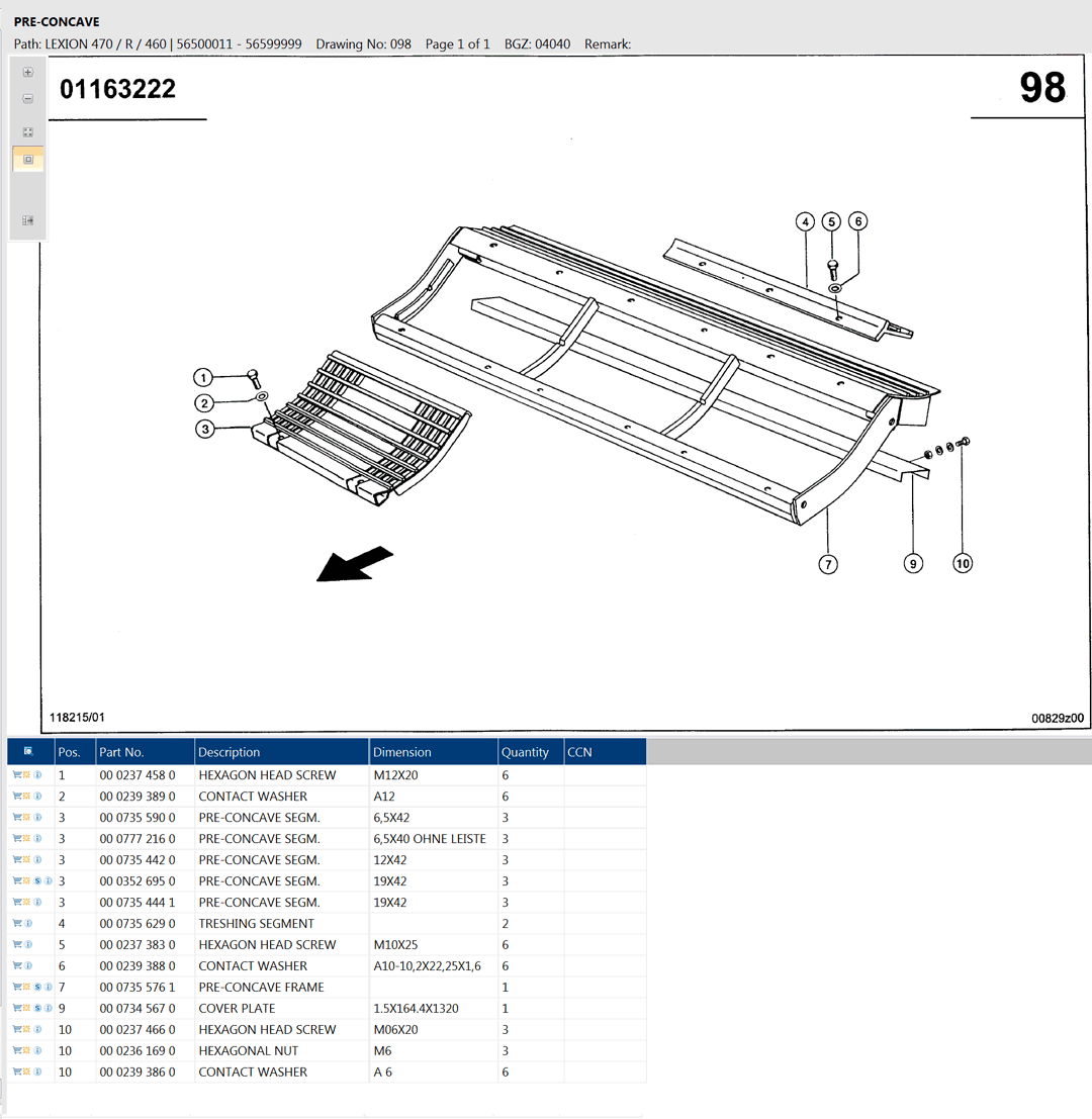 Lexion 470R parts and scheme - pre-concave