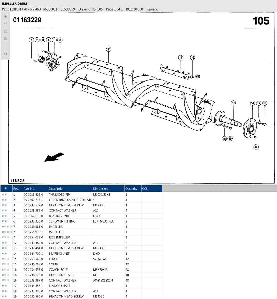 Lexion 470R parts and scheme - impeller drum