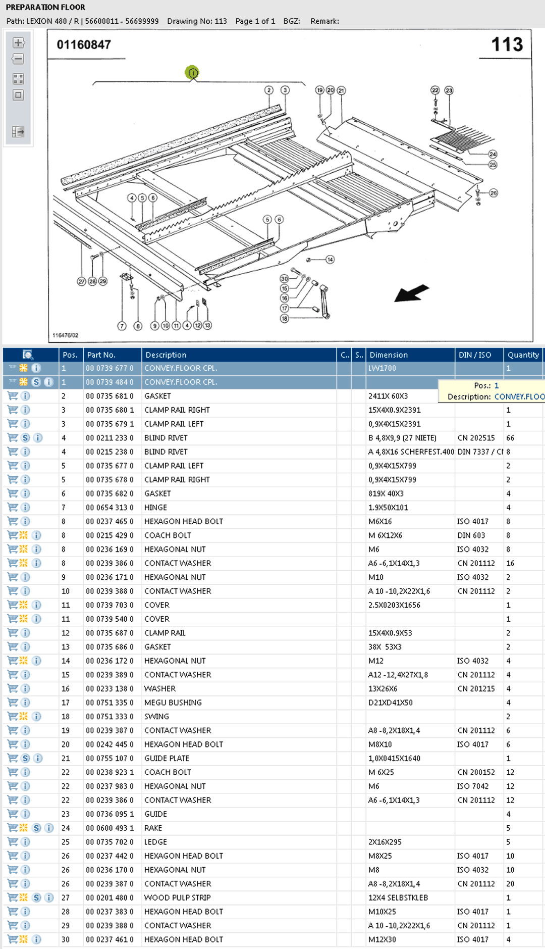 Lexion 480R parts and scheme - preparation floor and frame