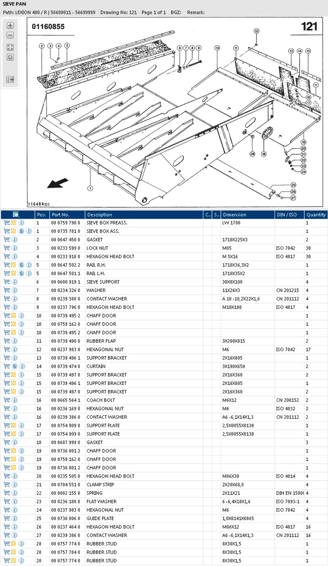Lexion 480R combine parts and schemes - sieve pan