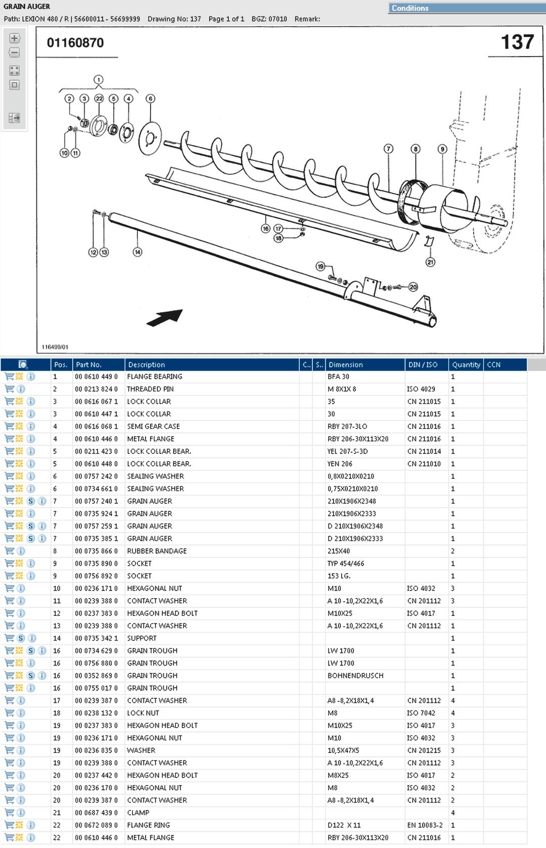 Lexion 480R parts and schemes - Grain tank filling auger