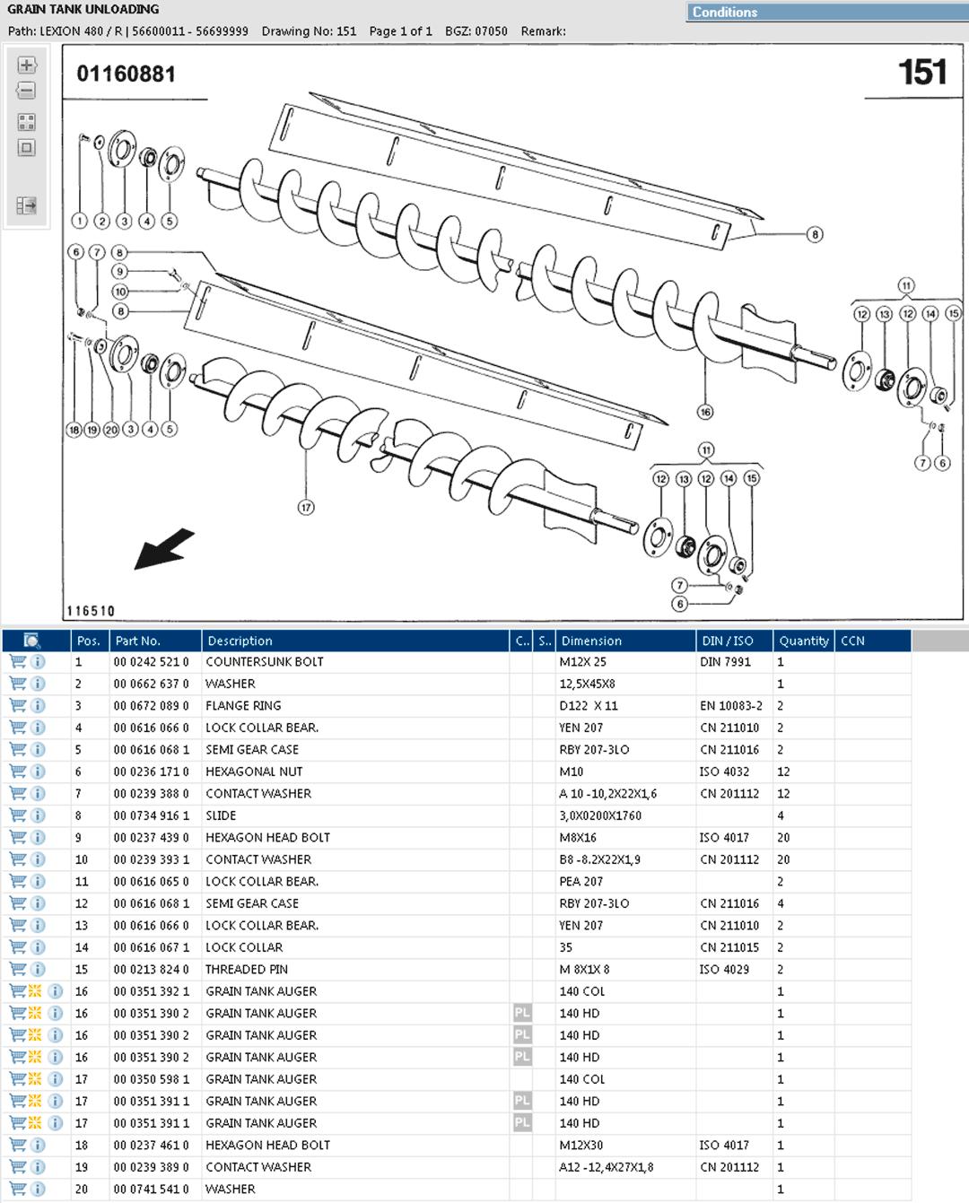 Lexion 480R parts and scheme - Grain tank unloading augers