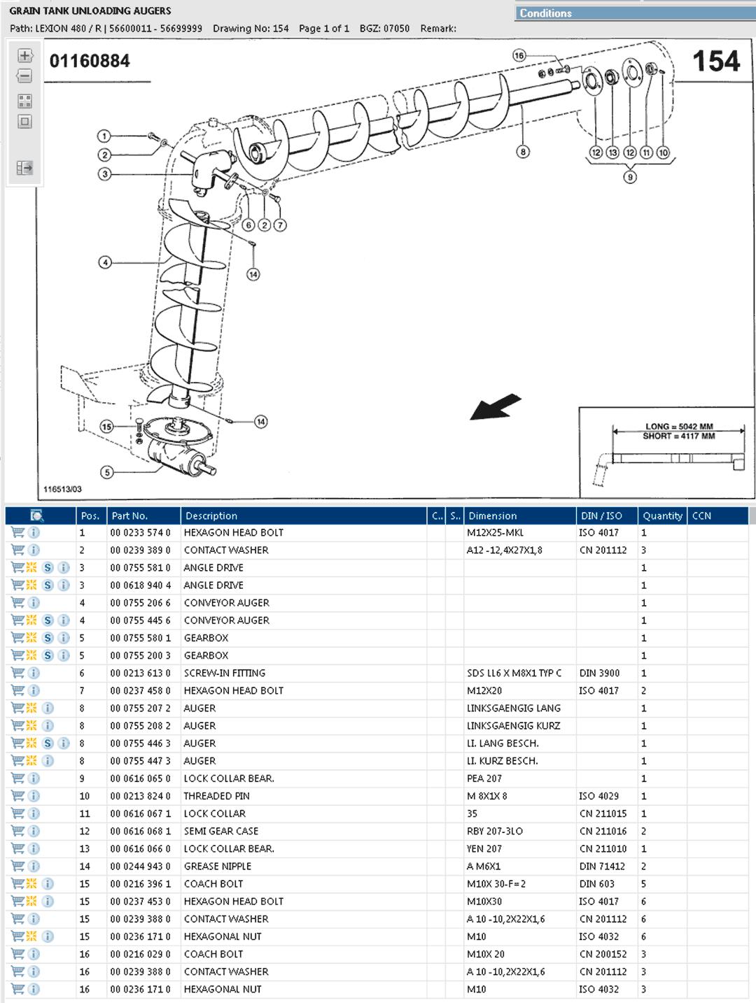 Lexion 480R parts and scheme - Grain tank unloading auger