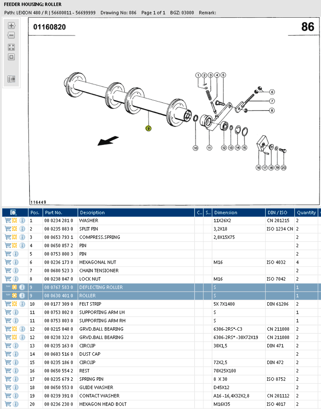 Lexion 480R parts and schemes - feeder housing - roller