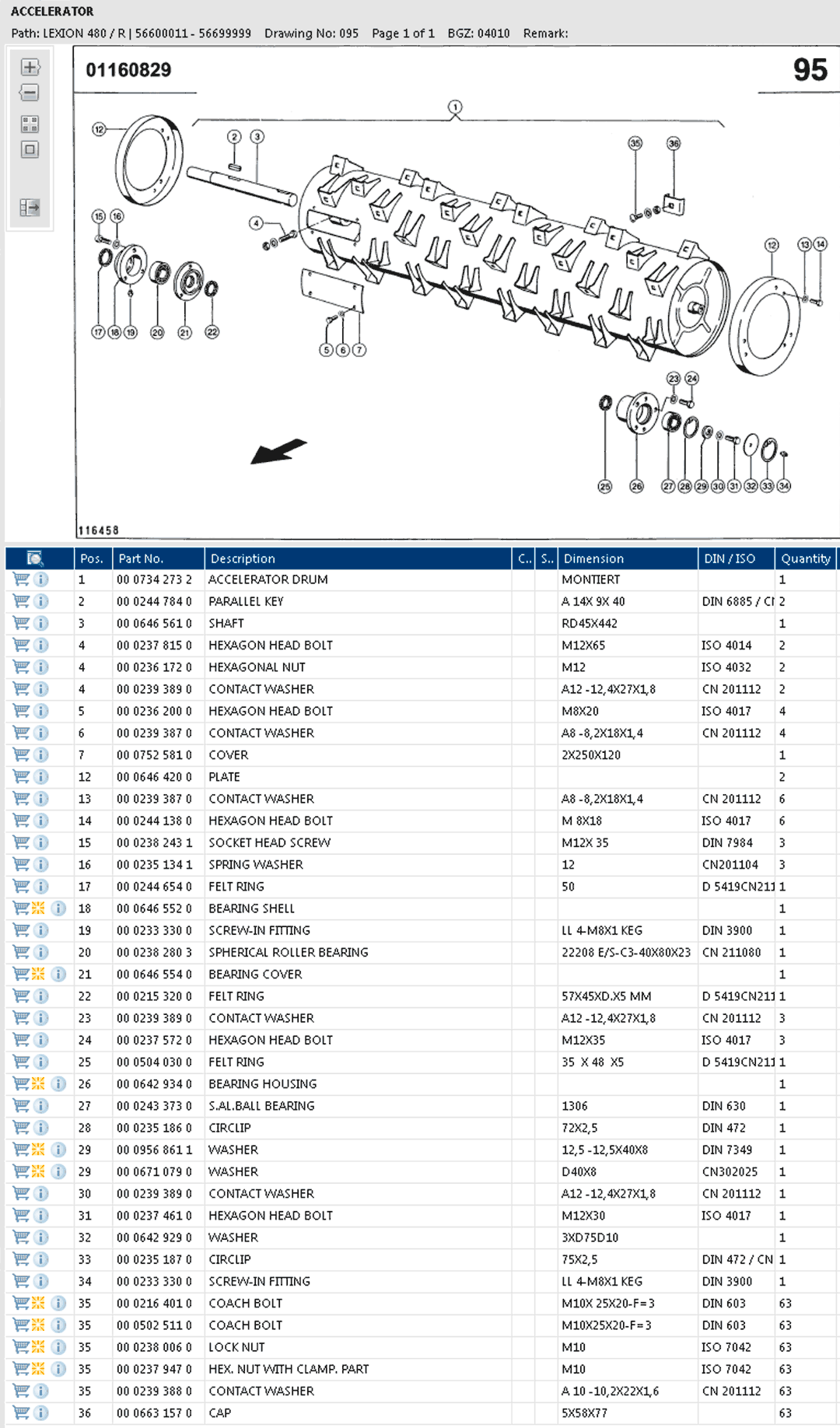 Lexion 480R parts and scheme - accelerator