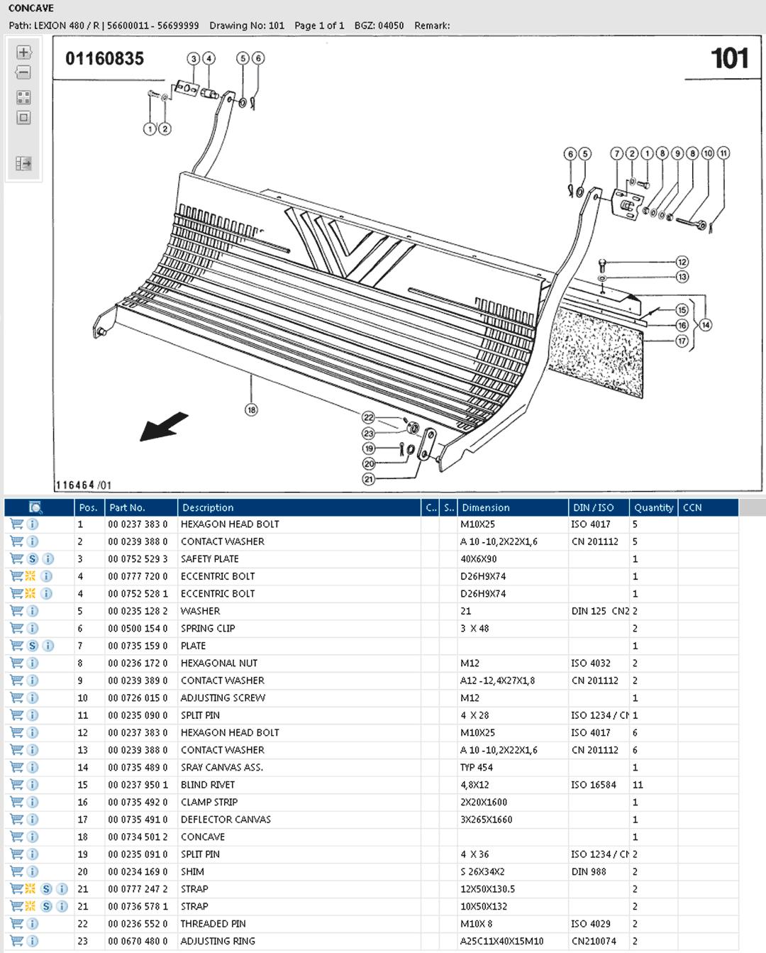Lexion 480R parts and scheme - concave