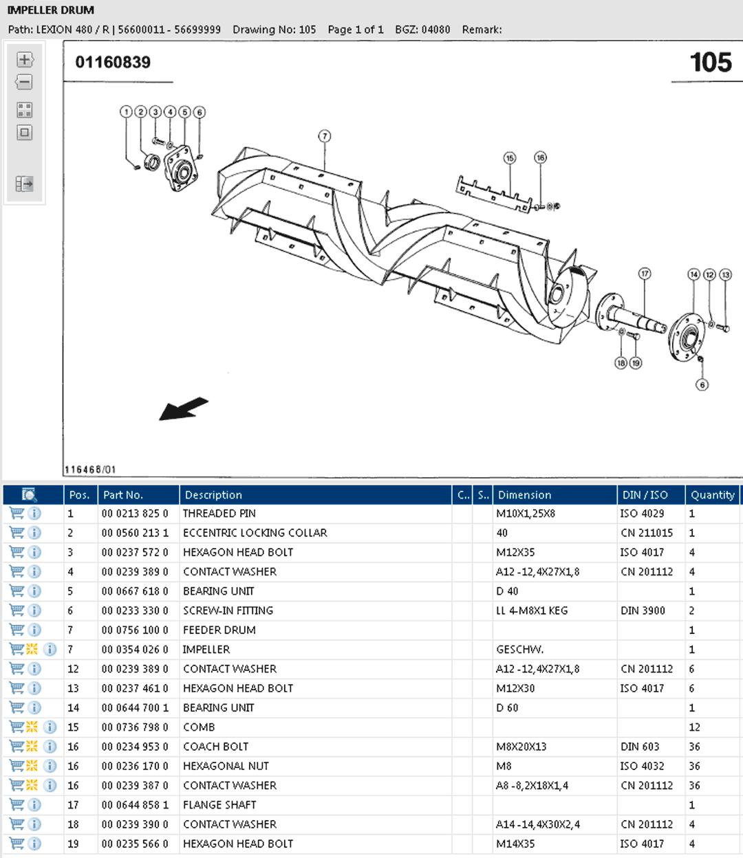 Lexion 480R parts and schemes - impeller drum