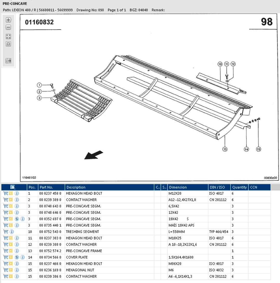 Lexion 480R parts and schemes - pre-concave segments