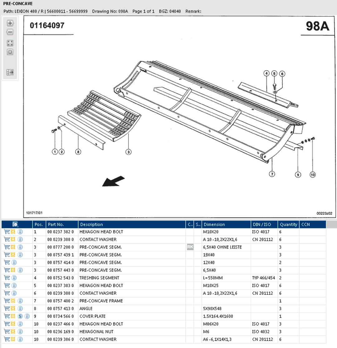 Lexion 480R parts and scheme - pre-concave