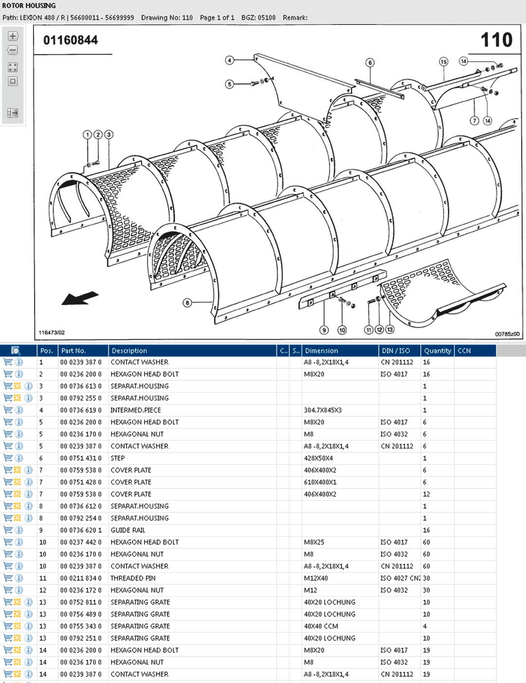 Lexion 480R parts and schemes - rotor housing