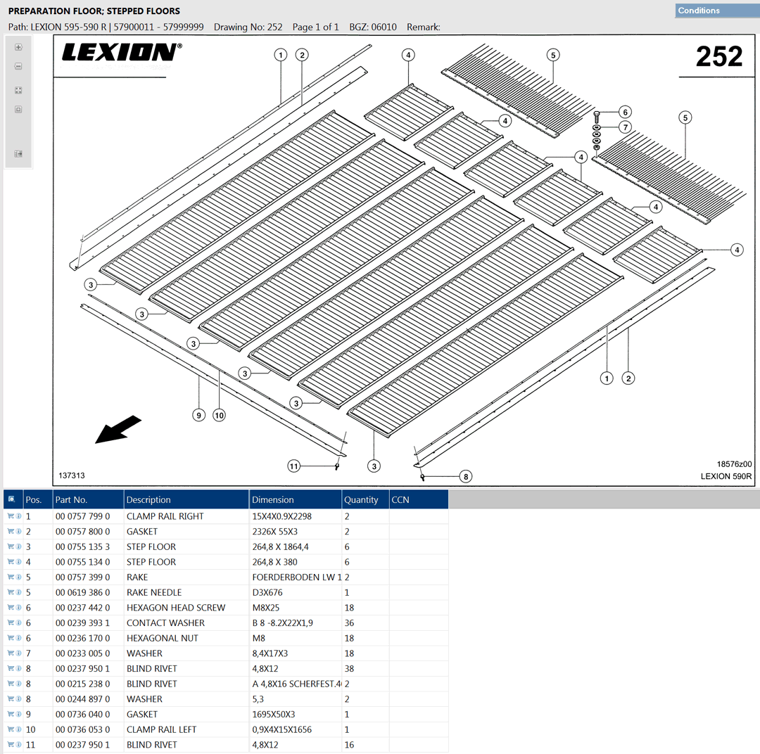 Lexion 595R parts and schemes - preparation floor, stepped floors