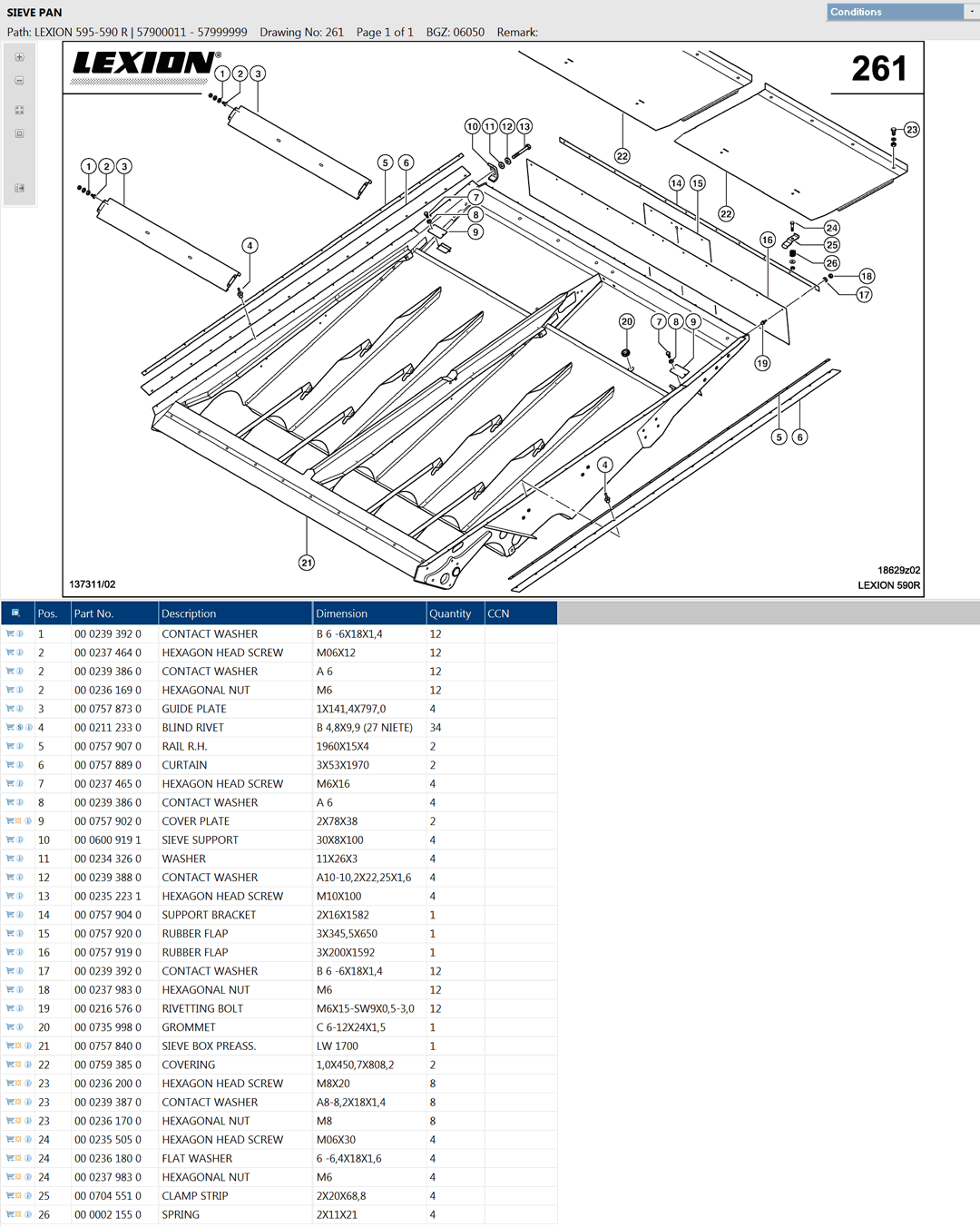 Lexion 595R combine parts and schemes - sieve pan