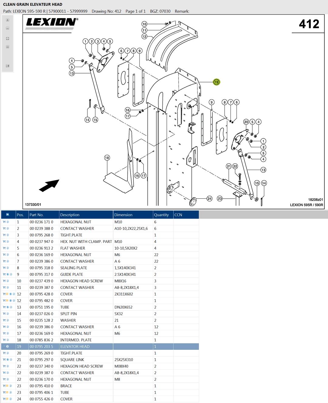 Lexion 595R parts and schemes - clean grain elevator head
