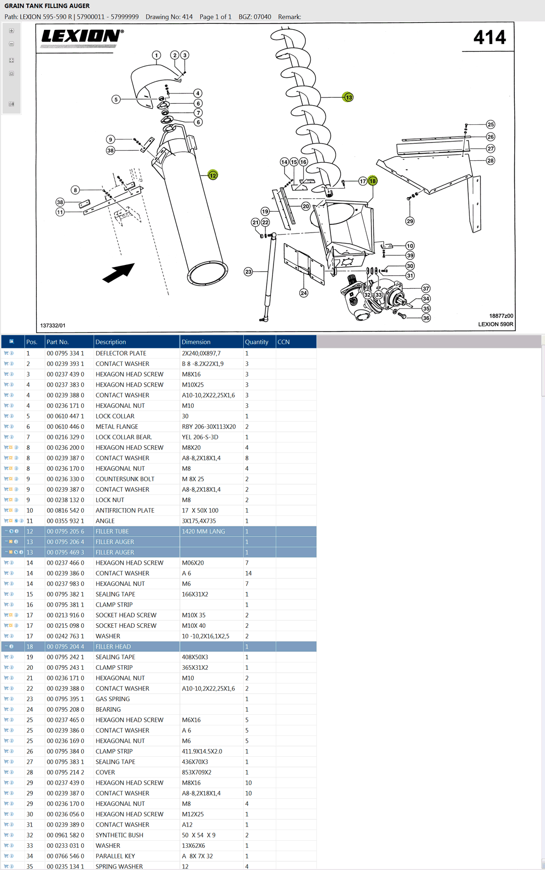 Lexion 595R parts and schemes - Grain tank filling auger and filling head