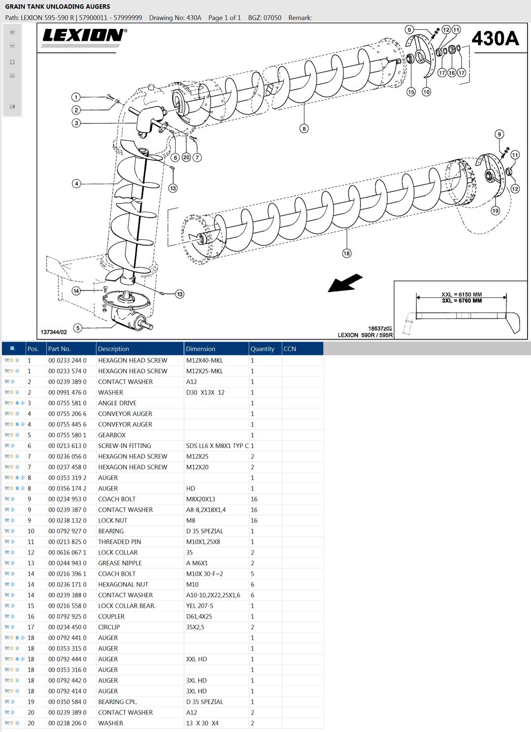 Lexion 595R parts and scheme - Grain tank unloading auger