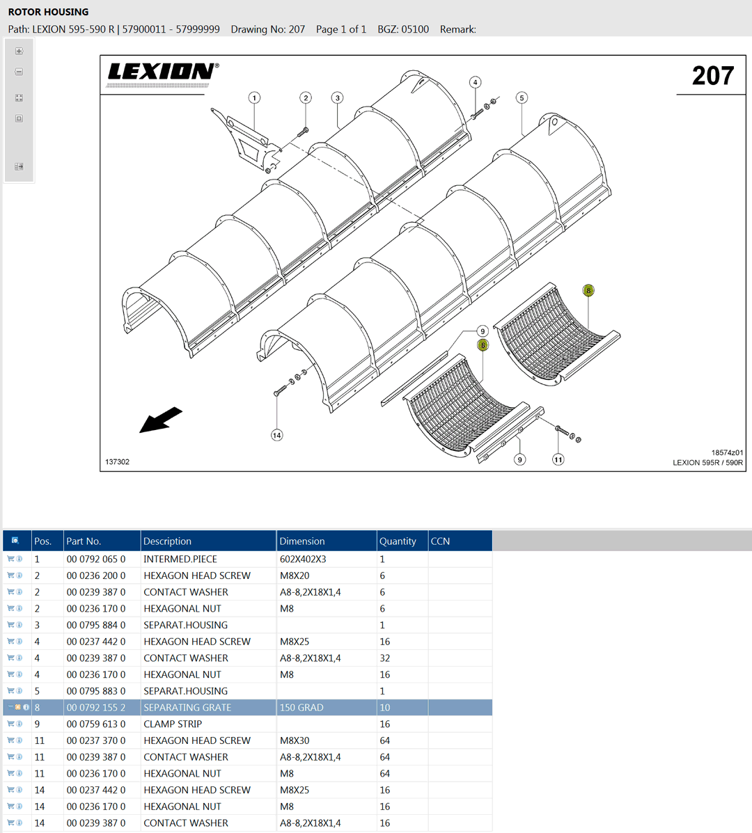 Lexion 595R parts and schemes - rotor housing