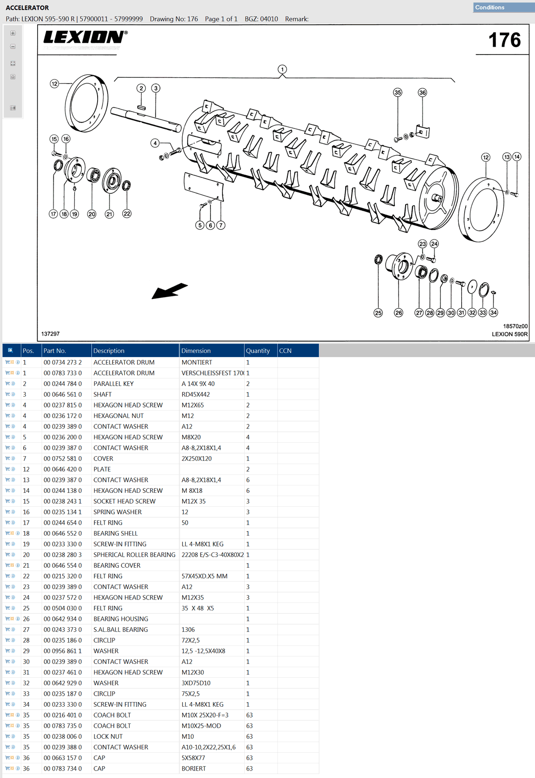 Lexion 470R parts and scheme - accelarator