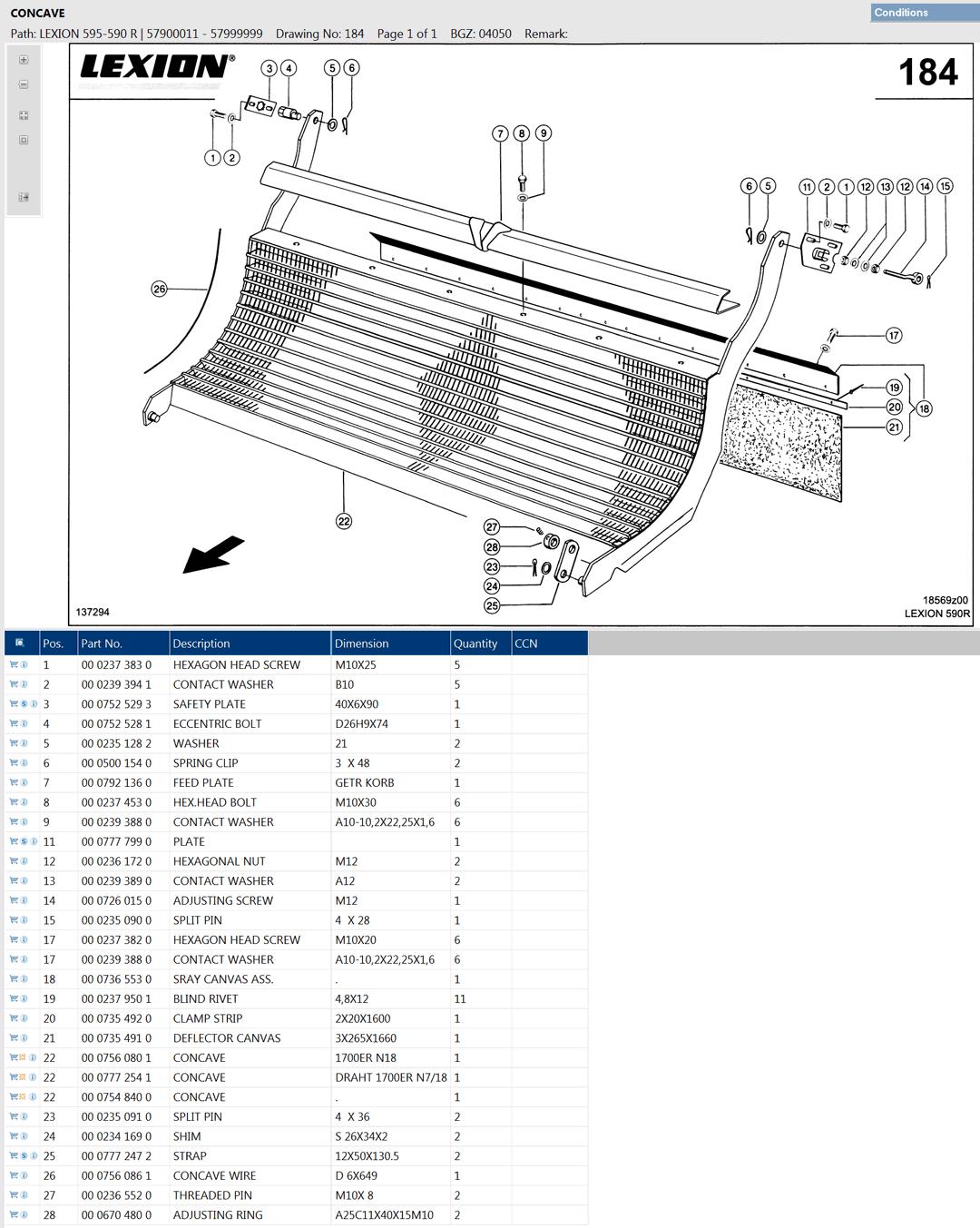 Lexion 595R parts and scheme - concave