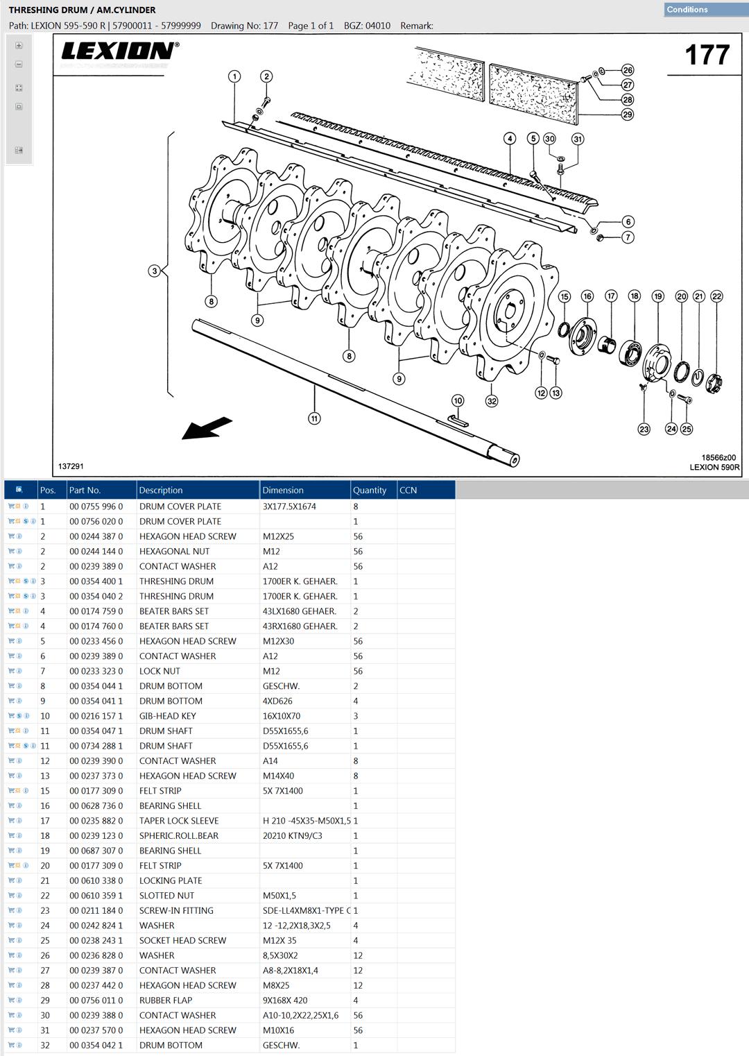 Lexion 595R parts and schemes - threshing drum
