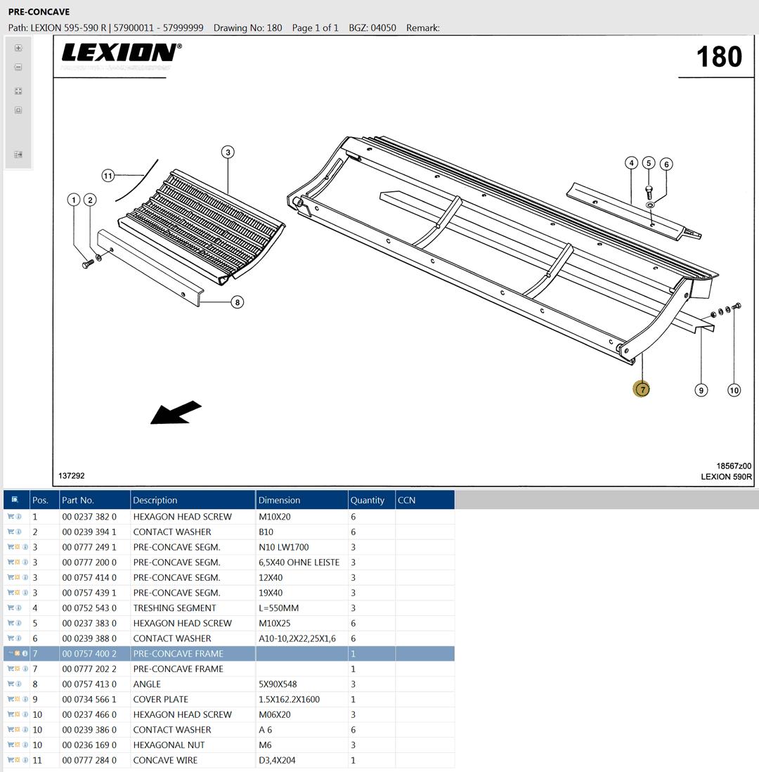 Lexion 595R parts and schemes - pre-concave segments